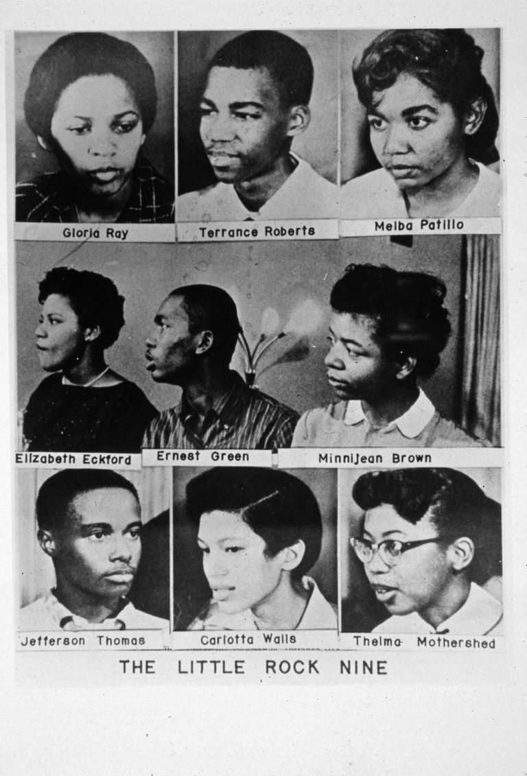 Portraits of the Little Rock Nine students.