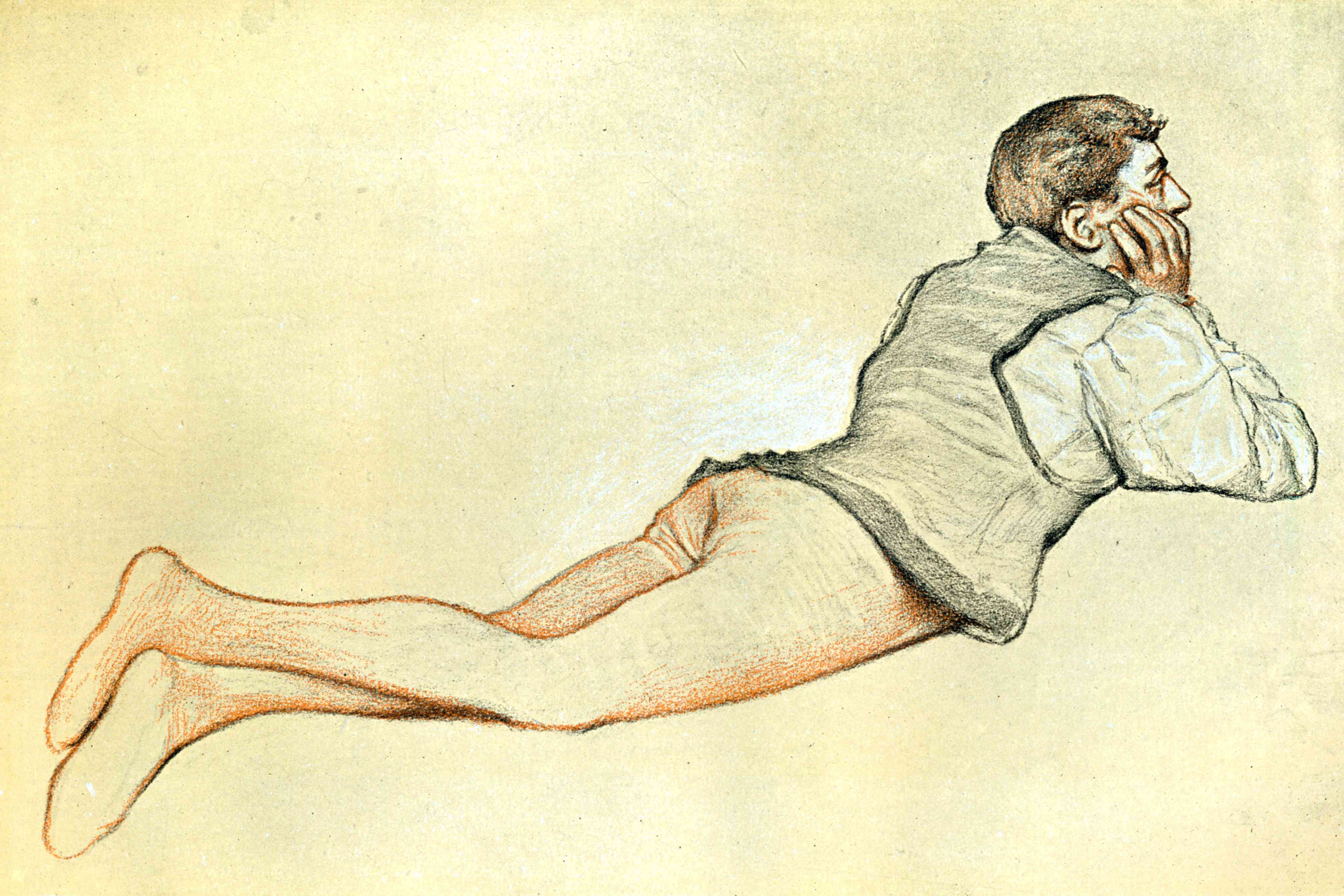 A 14th century man reclining in stockings down to his toes by artist James Dromgole