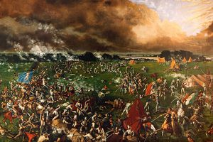 Artists rendering of the Battle of San Jacinto