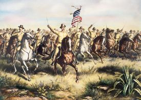 Lithograph of Theodore Roosevelt and the Rough Riders Charging San Juan Hill