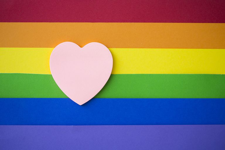 Pink Heart on Rainbow Background