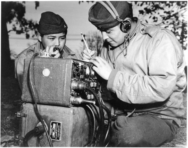 Picture of two Navajo code talkers in Australia during World War II.