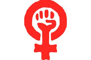 Fist in female symbol for women's liberation
