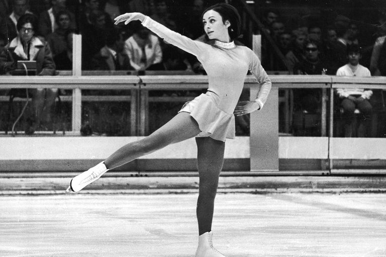 American figure skater Peggy Fleming performs a routine at the Olympics in Grenoble, France, February 11, 1968. She won the gold medal.