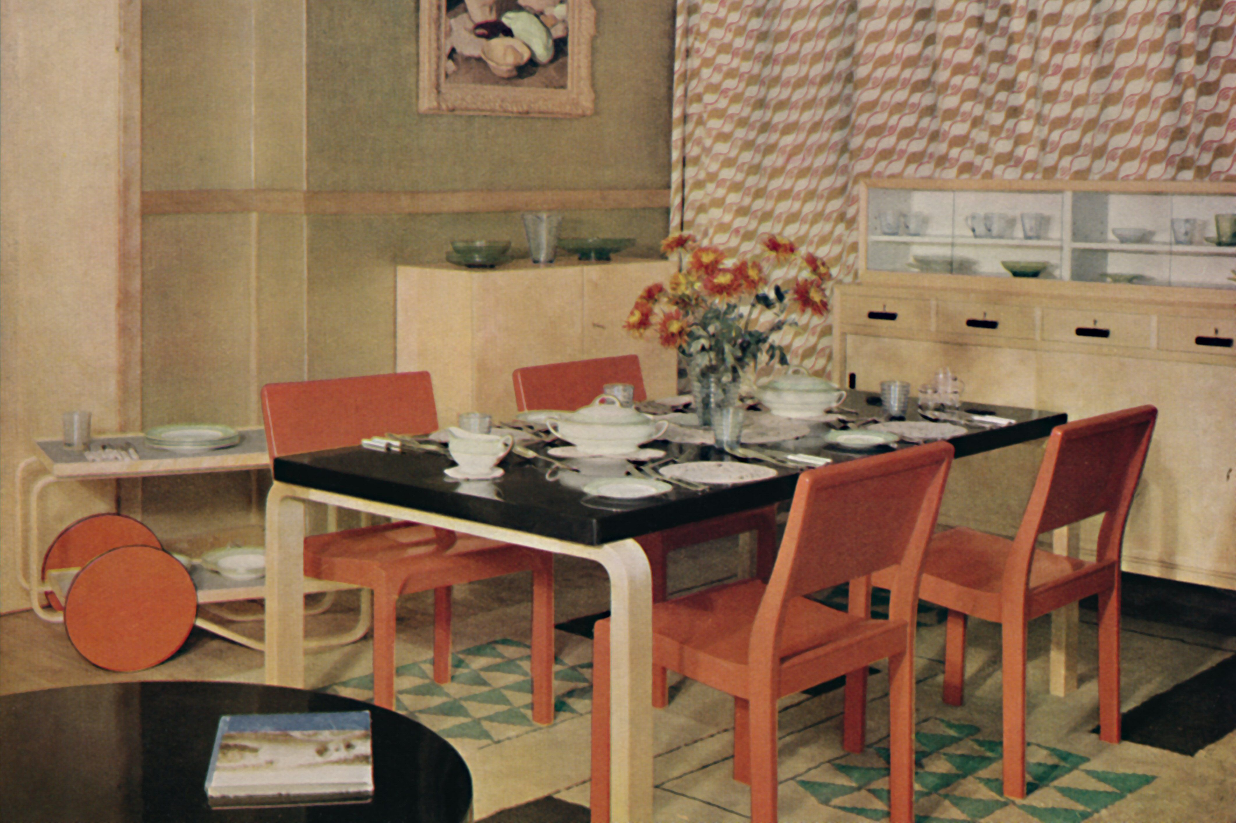 old color photo of modern furniture, a dining set