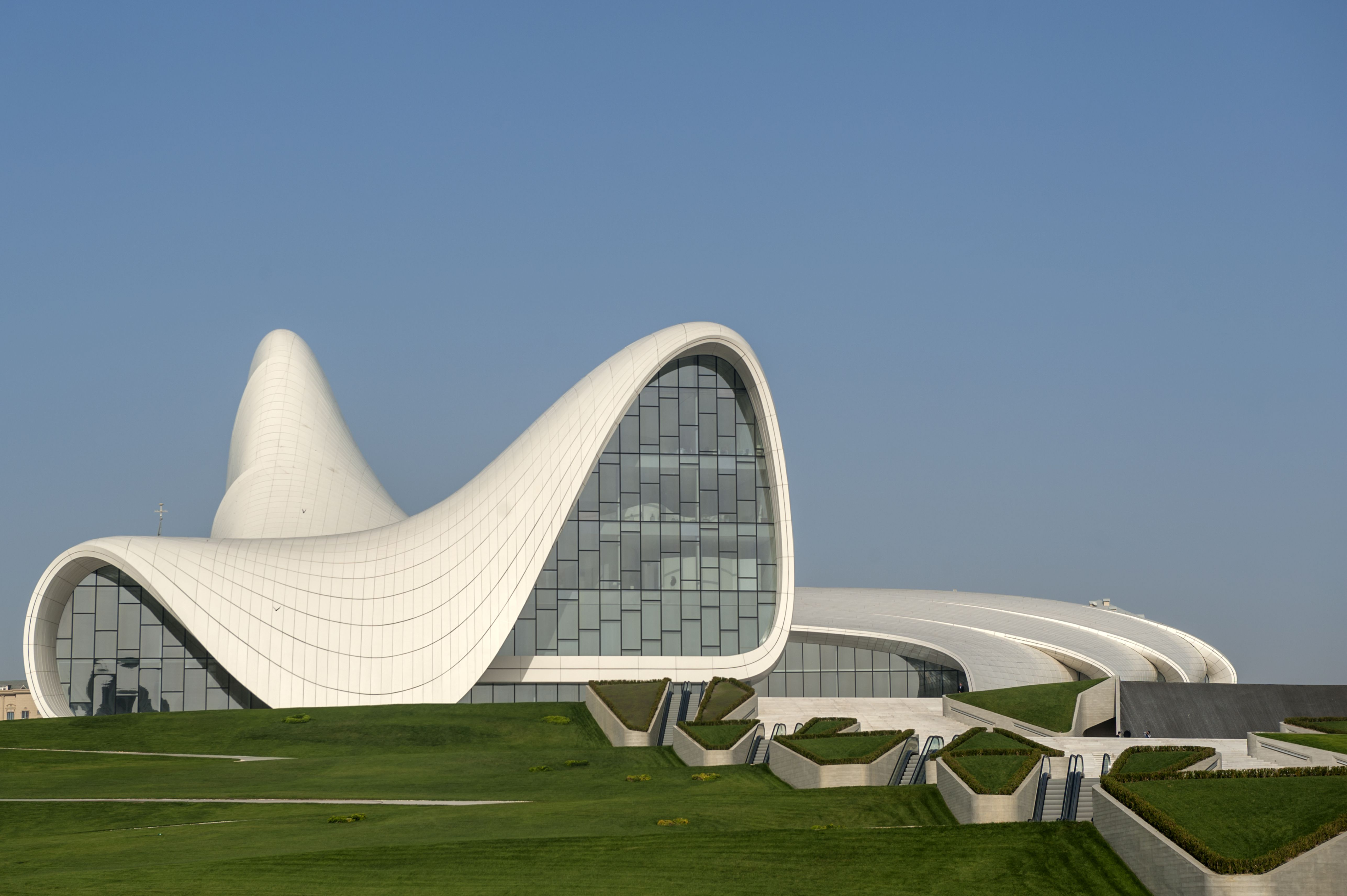 White curves of the Heydar Aliyev Center in Azerbaijan, designed by Zaha Hadid