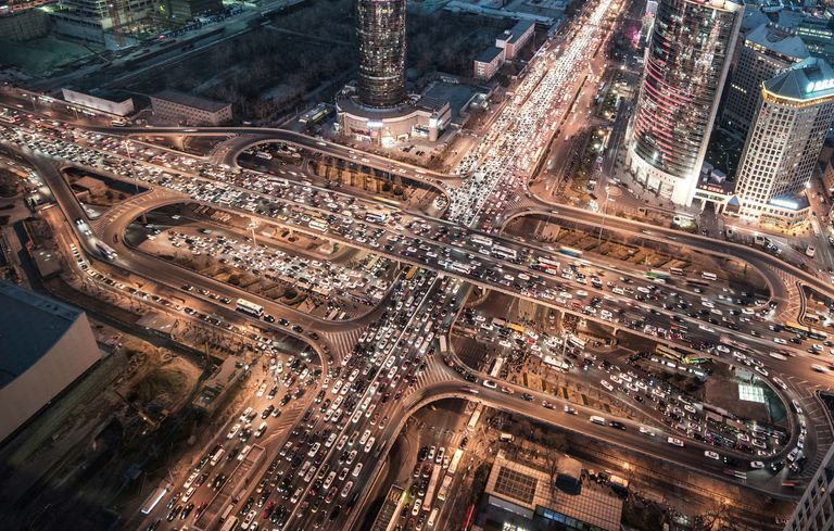 Aerial View of Traffic Jam in Beijing at Night
