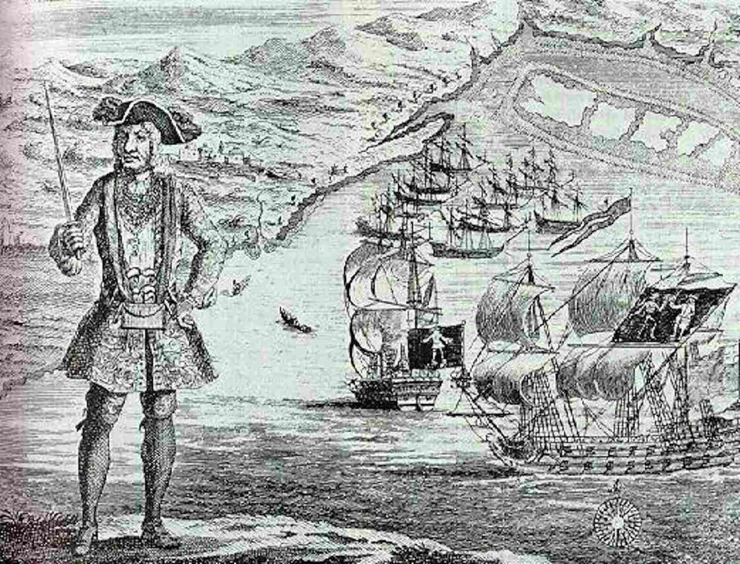 Bartholomew Roberts with his ship and captured merchant ships in the background. A copper engraving[1] from A History of the Pyrates by Captain Charles Johnson c. 1724