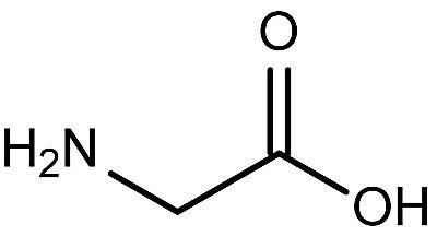 This is the chemical structure of glycine.