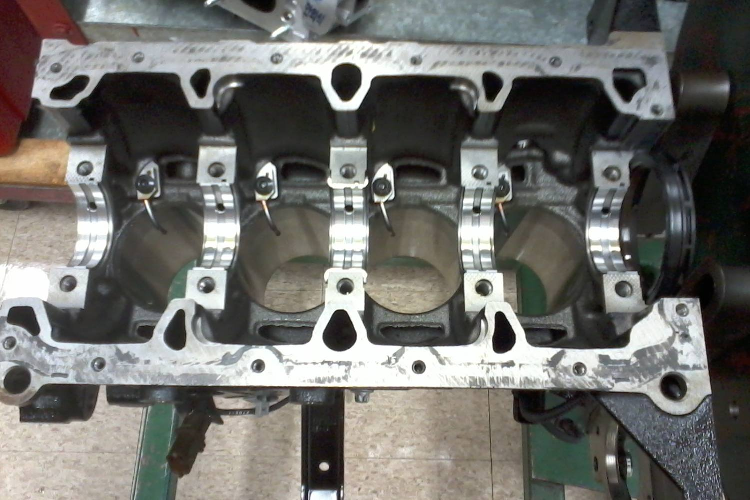 Engine Block With Crankshaft Removed And Bearings Exposed