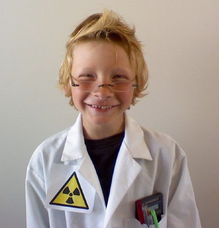 You can make a science costume for Halloween. It's easy and inexpensive.