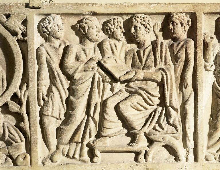Roman civilization, early Christian civilization, relief from front piece of sarcophagus portraying teacher of rhetoric with pupil