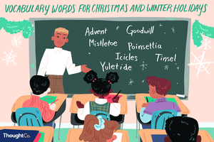Vocabulary words for Christmas and winter holidays
