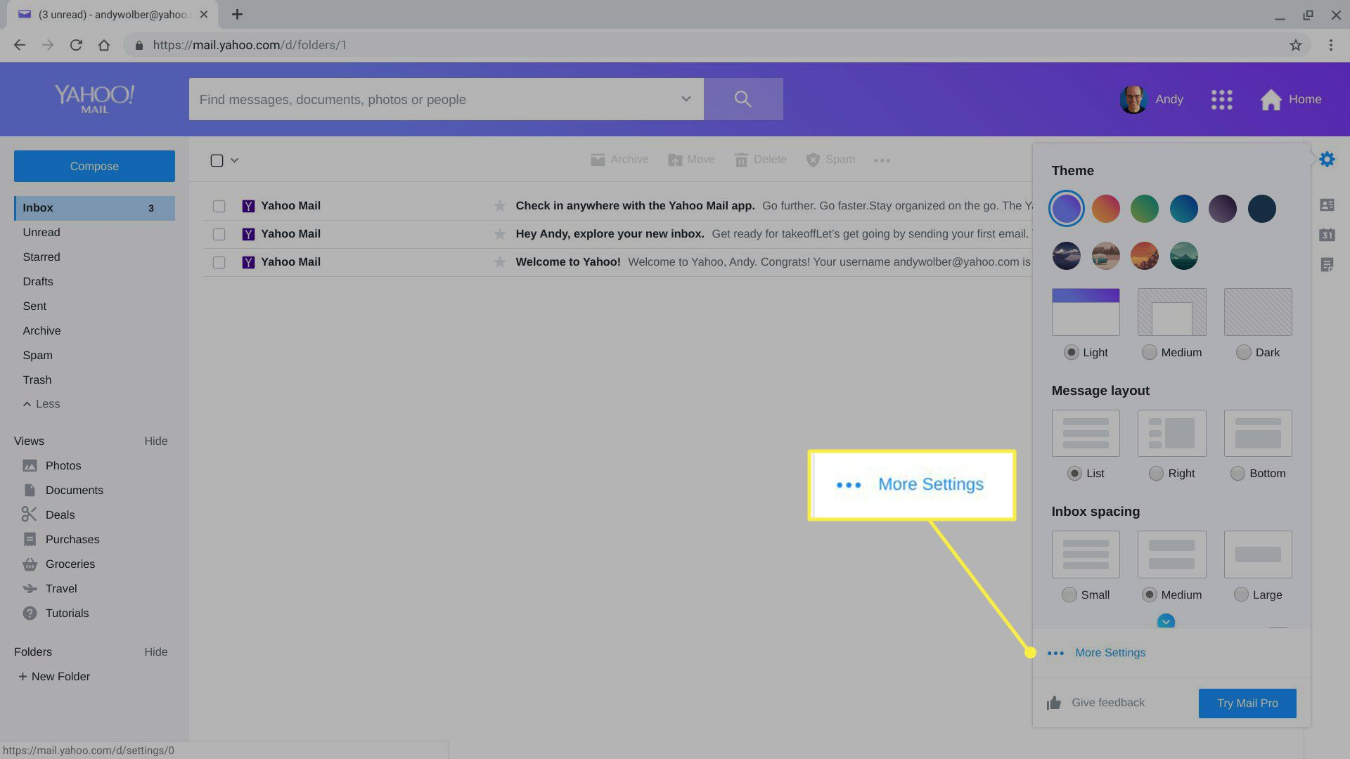 More Settings in Yahoo Mail