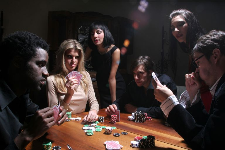 Smoky Poker Room with Group