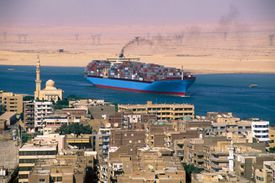 Cargo ship passing through the Suez Canal