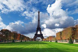 Eiffel Tower against a beautiful blue sky.