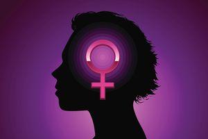 Silhouette with feminist symbol