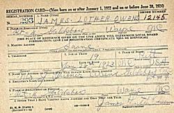 WWII draft registration record