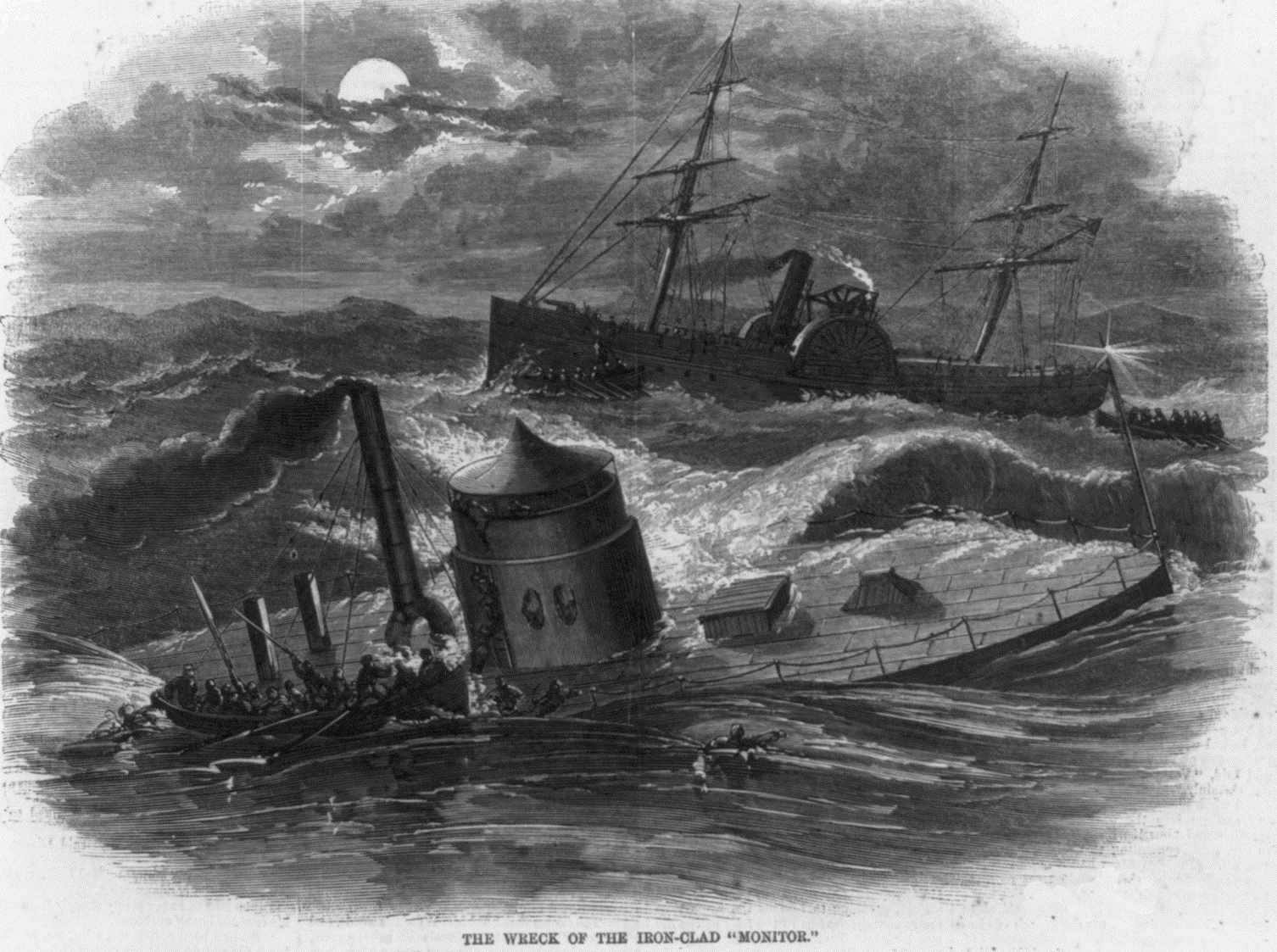Depiction of the sinking of the Monitor off Cape Hatteras, North Carolina.