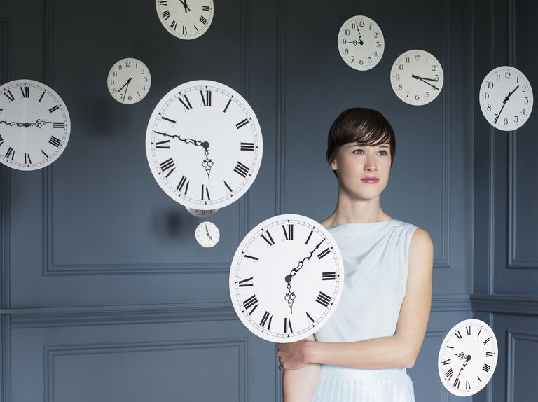 woman with clocks