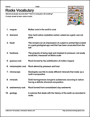 rocks vocabulary study sheet