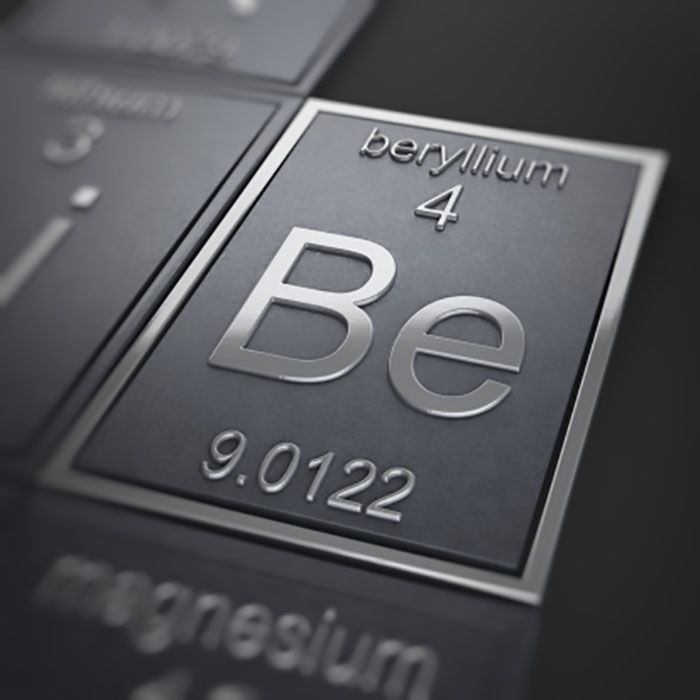Beryllium on the periodic table of elements