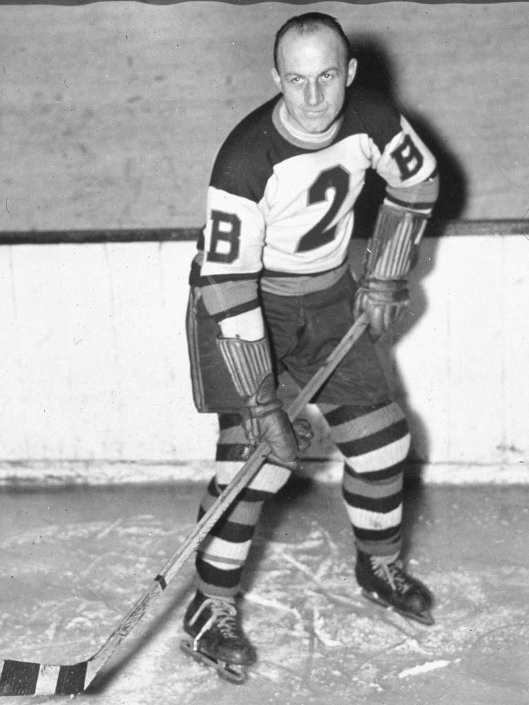 An on-ice picture of NHL player Eddie Shore of the Boston Bruins, taken December 8, 1936.