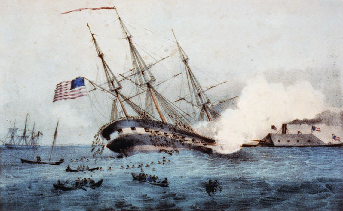 USS Cumberland sinking as it is rammed by CSS Virginia.