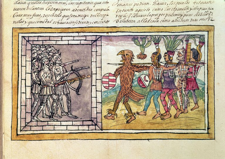 Pedro de Alvarado companion-at-arms of Hernando Cortes besieged by Aztec warriors