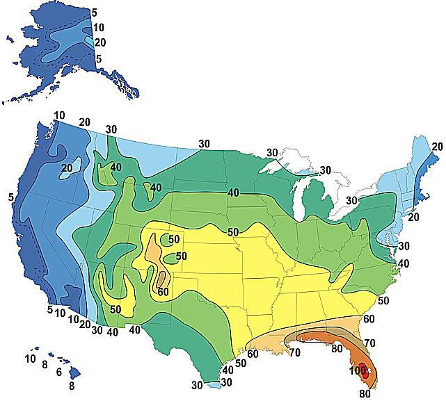 A map showing the average number of thunderstorm days each year in the U.S. (2010)