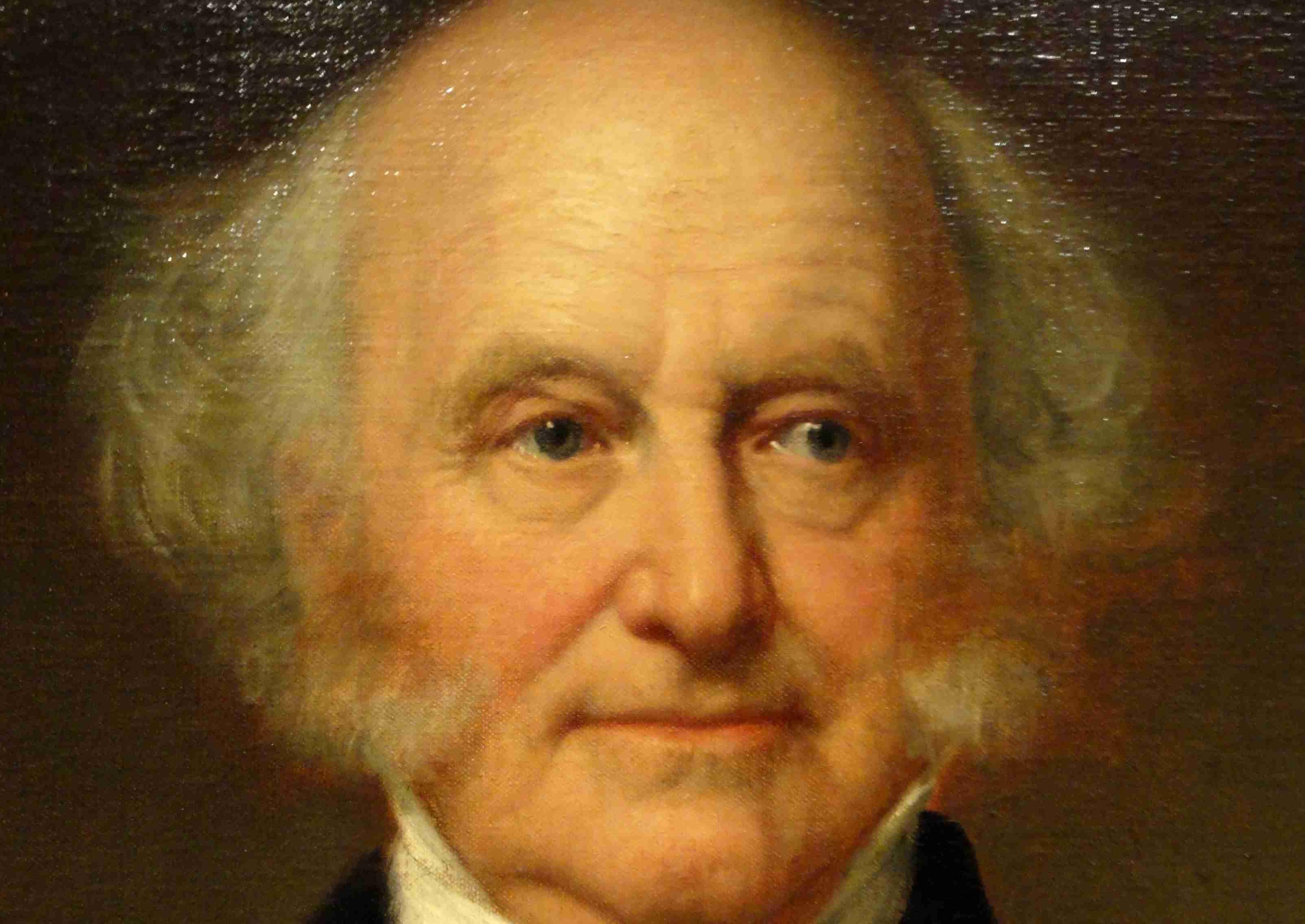 Detailed, close up oil portrait of Martin Van Buren later in life.
