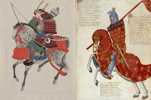 A Japanese samurai and his European counterpart, a knight