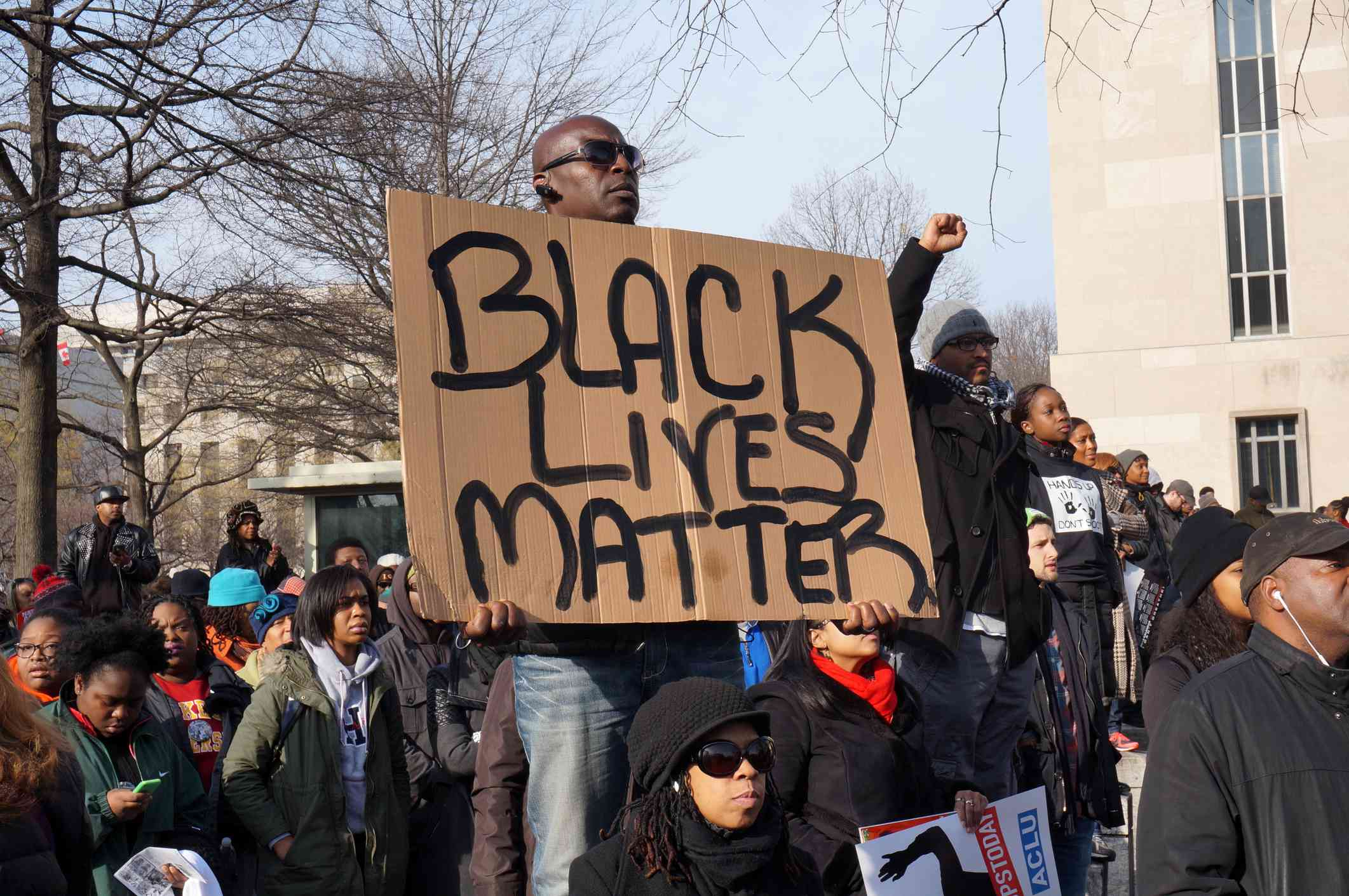 Man protesting the deaths of Michael Brown, Eric Garner and Tamir Rice displays a Black Lives Matter in Washington DC.