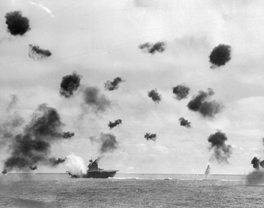 Aircraft Carrier Yorktown Being Hit by Japanese Bomber