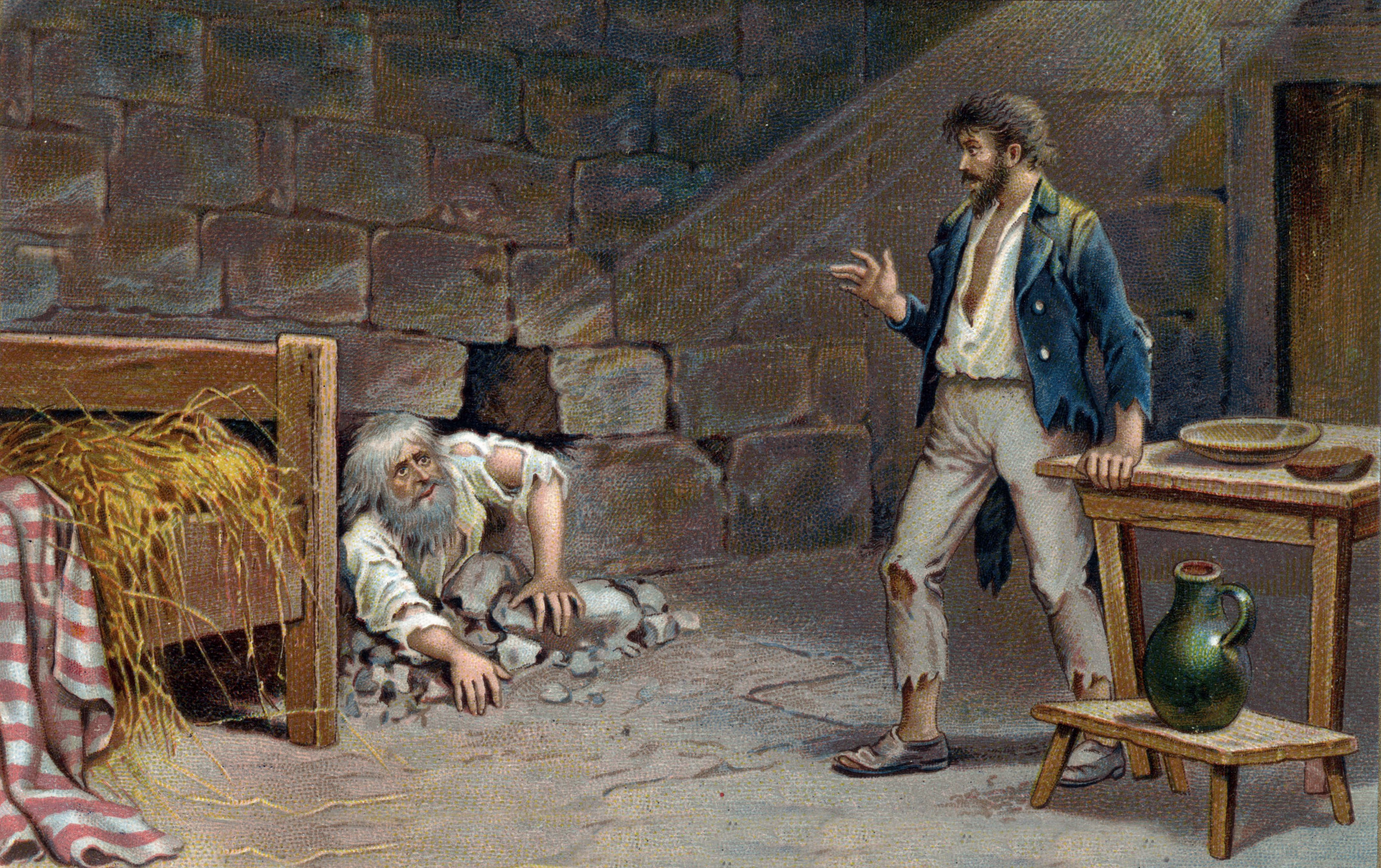 Illustration of Edmond Dantes and Faria Working on an Escape Tunnel
