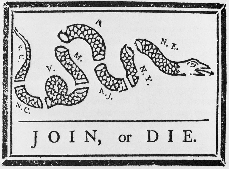 The Join or Die cartoon depicting the colonies as a snake broken up into segments