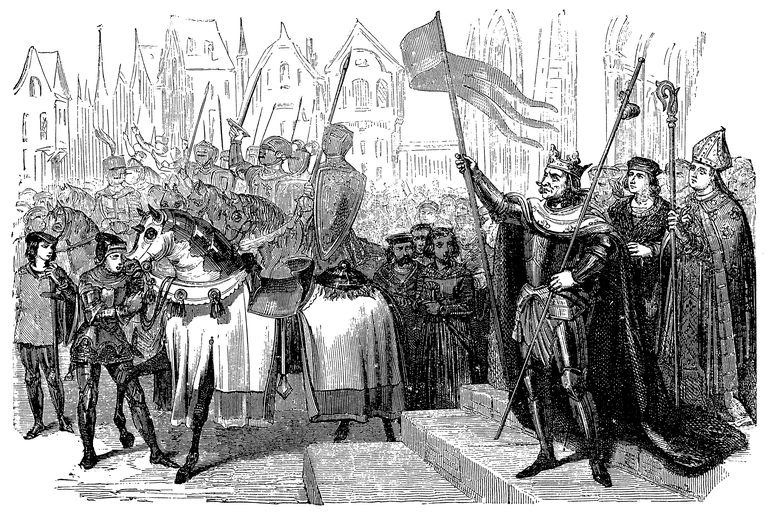From 'L'Ouvrier' (1862): Saint Louis leaves for Crusades