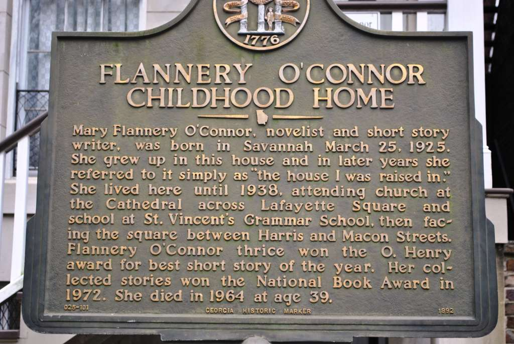 Plaque at Flannery O'Connor's childhood home