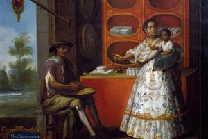 Painting on theme of miscegenation, 18th century Mexico