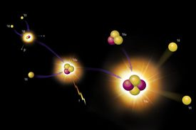 Artist rendering of protons on a black background.