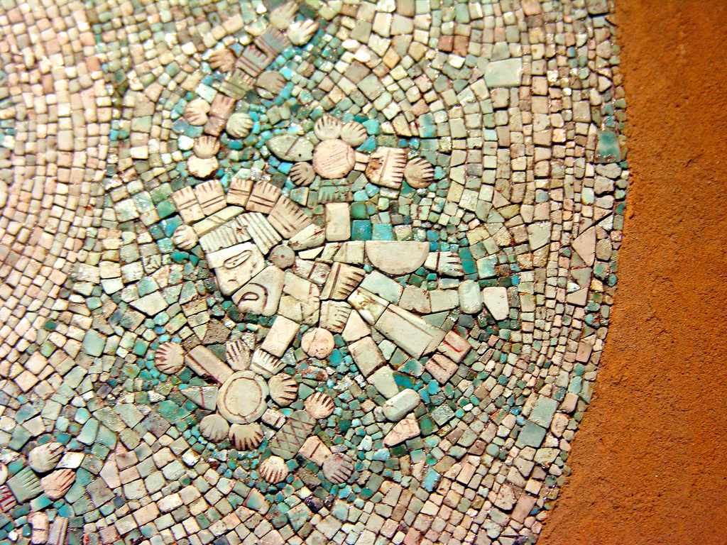 Aztec Mosaic at the Museum of Tenochtitlan, Mexico City - Detail