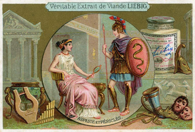 Illustrated postcard of Aspasia and Pericles