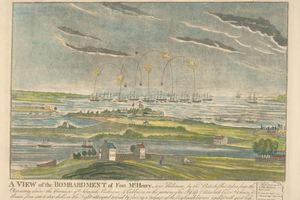 Lithograph of bombardment of Fort McHenry