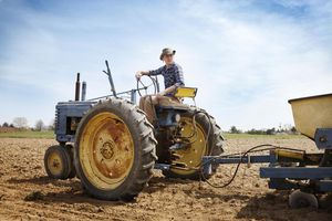 Young Man Sitting On Tractor In Field