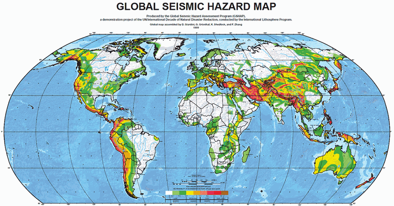 Major earthquake zones on each continent global seismic hazard map of the world gumiabroncs