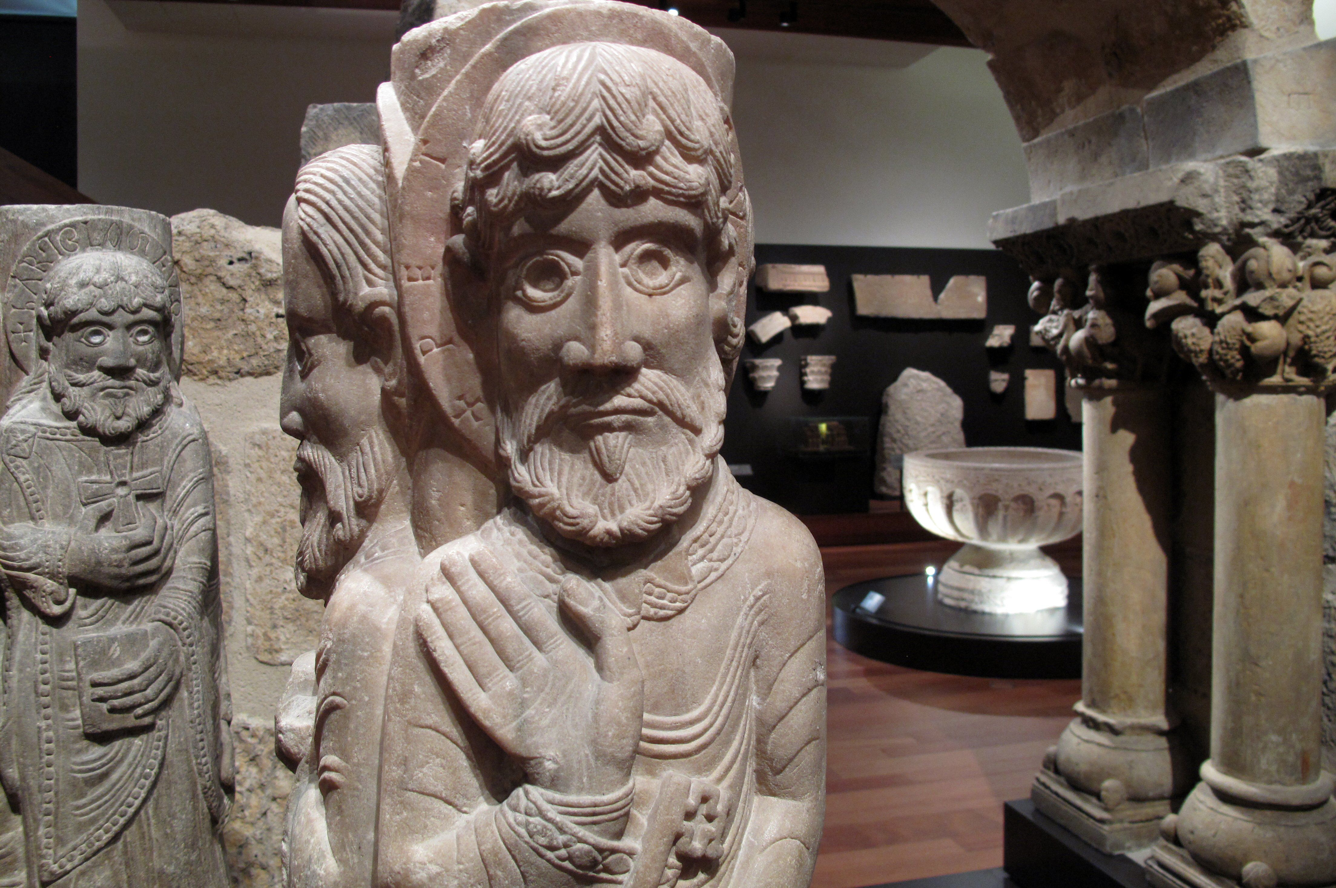 Column Statues and Capitals in the Romanesque Style, c. 1152, in the National Archaeological Museum, Madrid, Spain