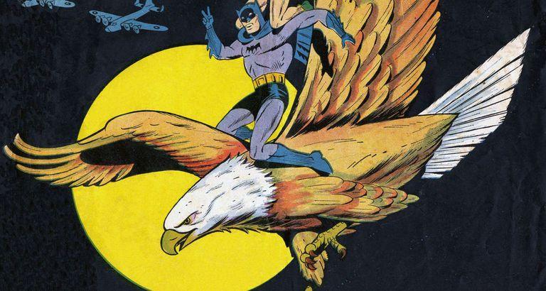 Batman riding an eagle.
