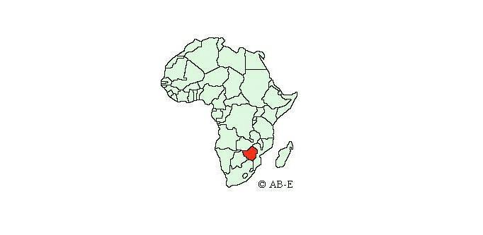Zimbabwe on map of Africa