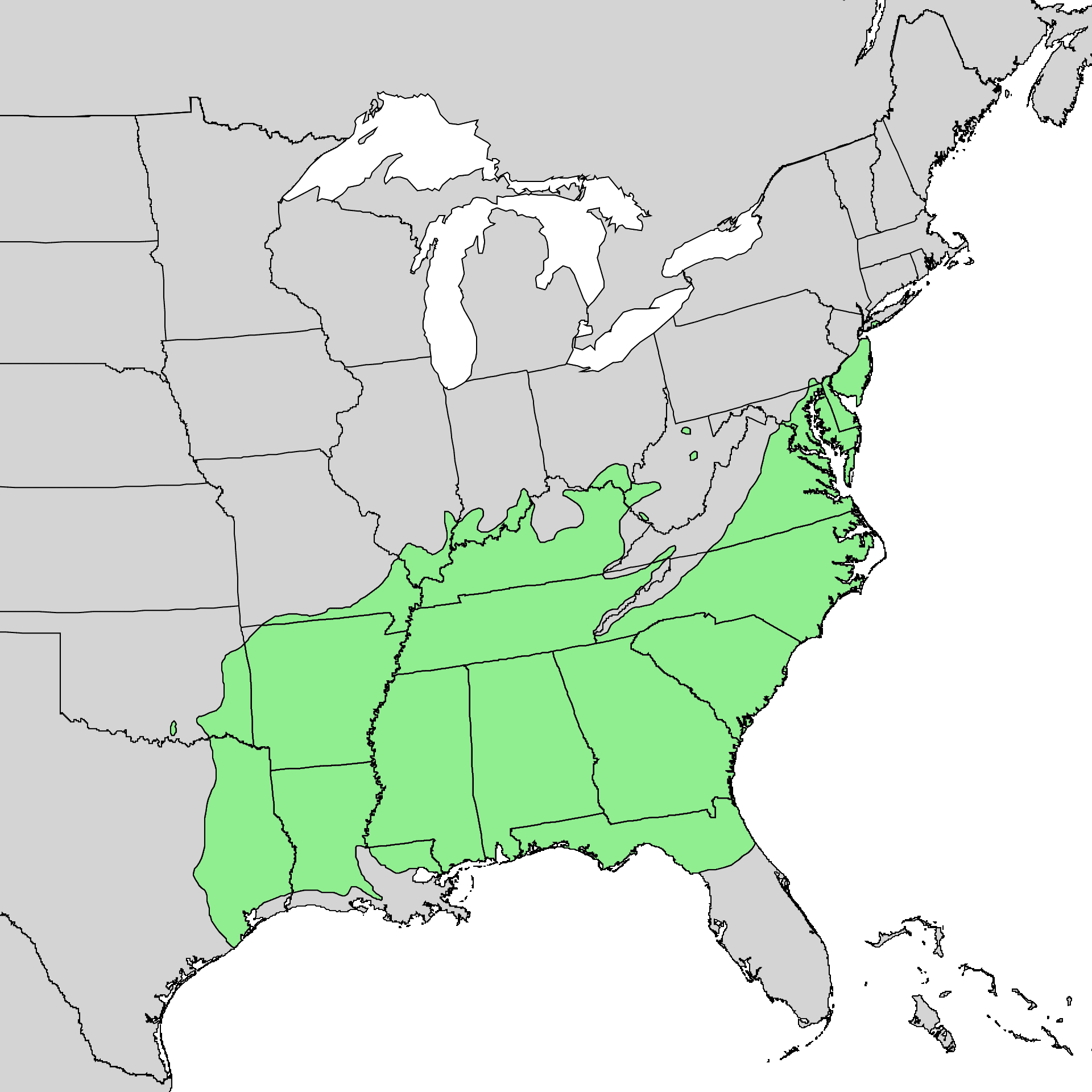 Distribution map of the southern red oak tree